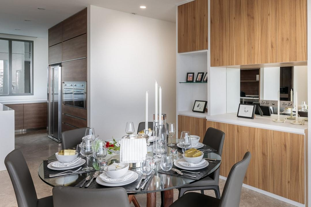 Leedon Residences, Ark Interior, Minimalistic, Dining Room, Condo, Modern Contemporary Dining Room, Round Circle Dining Table, Dinig Chair, Recessed Lights, Indoors, Interior Design, Room, Kitchen, Dining Table, Furniture, Table, Couch, Chair