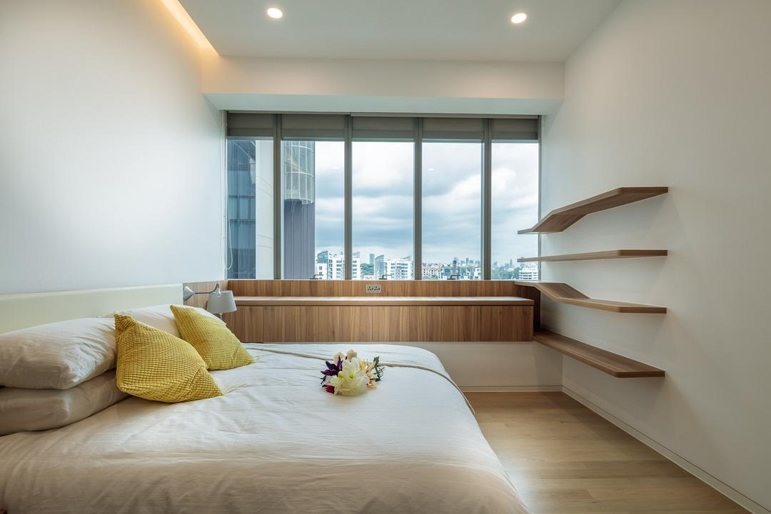 Leedon Residences, Ark Interior, Minimalistic, Bedroom, Condo, Wooden Floor, King Size Bed, Modern Contemporary Bedroom, , Recessed Lights, Hidden Interior Lighting, Wall Mounted Wooden Shelves, Cozy, Cosy, Roll Down Curtain, Indoors, Interior Design, Room