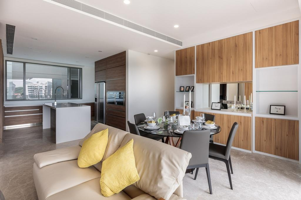 Minimalistic, Condo, Living Room, Leedon Residences, Interior Designer, Ark Interior, Modern Contemporary Living Room, Wooden Panel, Recessed Lights, Marble Floor, Built In Shelve, Dining Table, Furniture, Table, Home Decor, Linen, Tablecloth, Indoors, Interior Design, Couch