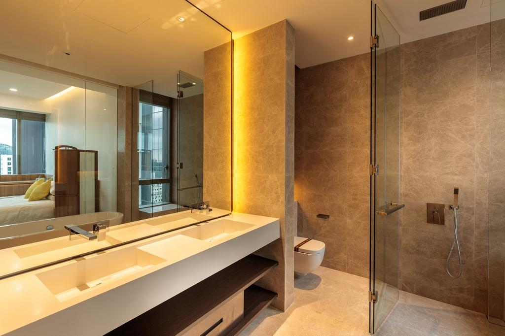 Minimalistic, Condo, Bathroom, Leedon Residences, Interior Designer, Ark Interior, Modern Contemporary Bathroom, Built In Sink, White Sink Countertop, Hidden Interior Lighting, Glass Panelled Shower, Toilet, Indoors, Interior Design