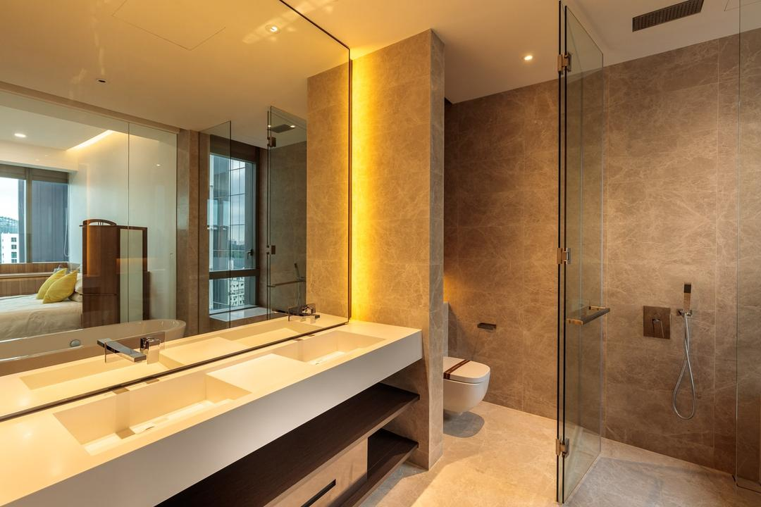 Leedon Residences, Ark Interior, Minimalistic, Bathroom, Condo, Modern Contemporary Bathroom, Built In Sink, White Sink Countertop, Hidden Interior Lighting, Glass Panelled Shower, Toilet, Indoors, Interior Design