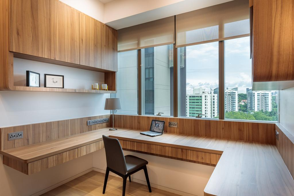 Minimalistic, Condo, Study, Leedon Residences, Interior Designer, Ark Interior, Modern Contemporary Study Room, Wall Mounted Wooden Desk, Wooden Cabinet, Wooden Shelves, Wooden Floor, Wooden Chair, Dining Room, Indoors, Interior Design, Room