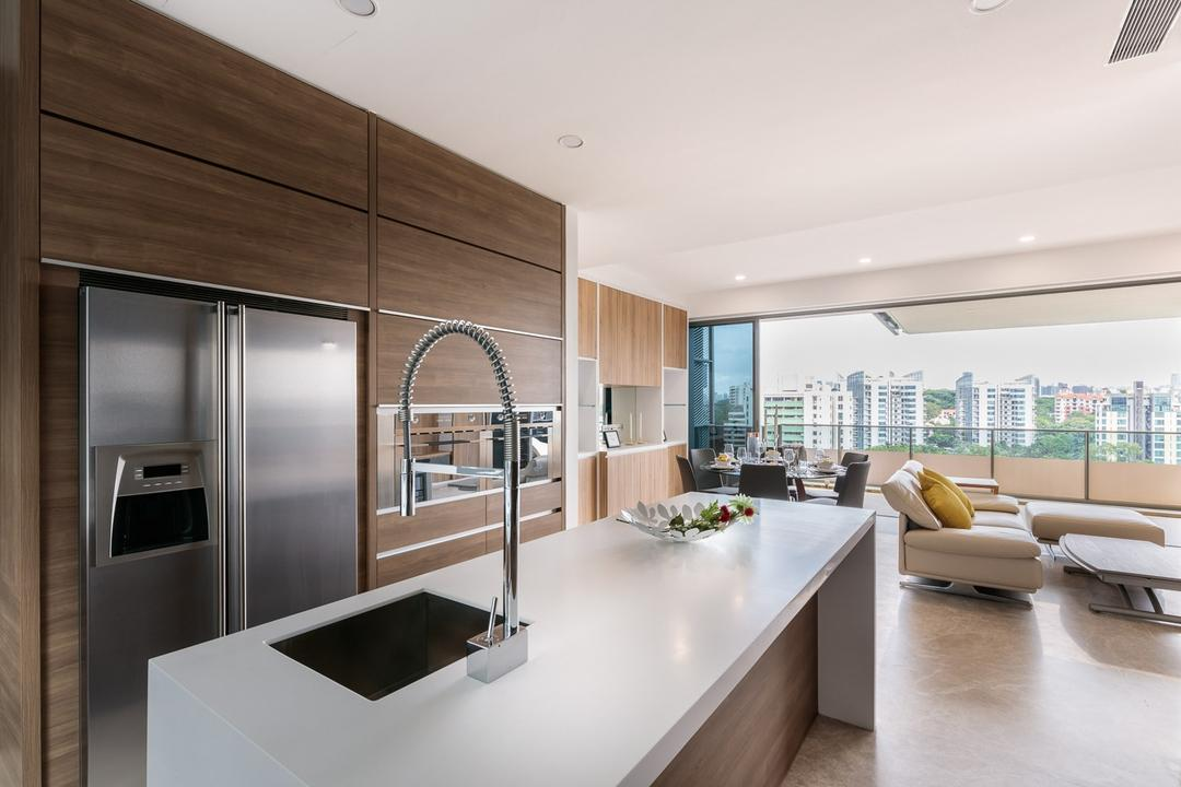 Leedon Residences, Ark Interior, Minimalistic, Kitchen, Condo, White Kitchen Countertop, Wooden Kitchen Cabinet, Wooden Kitchen Cupboard, Recessed Light, Built In Shelve, Built In Oven, Built In Refrigerator, Indoors, Interior Design, Sink, Banister, Handrail