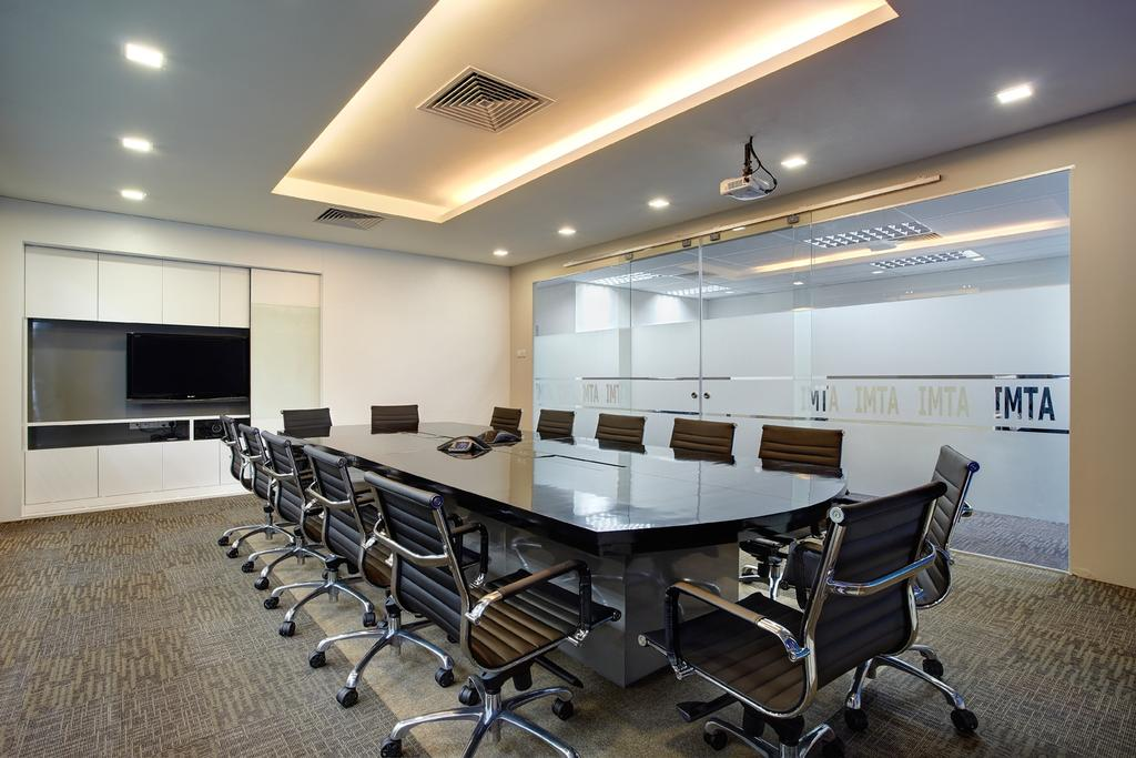 Jurong Office, Commercial, Interior Designer, D5 Studio Image, Traditional, Study, Meeting Room, Boardroom, Meeting, 10 Seaters, Office, Recessed Lighting, Concealed Lighting, Glass Doors, Conference Room, Indoors, Room, Chair, Furniture, Electronics, Entertainment Center