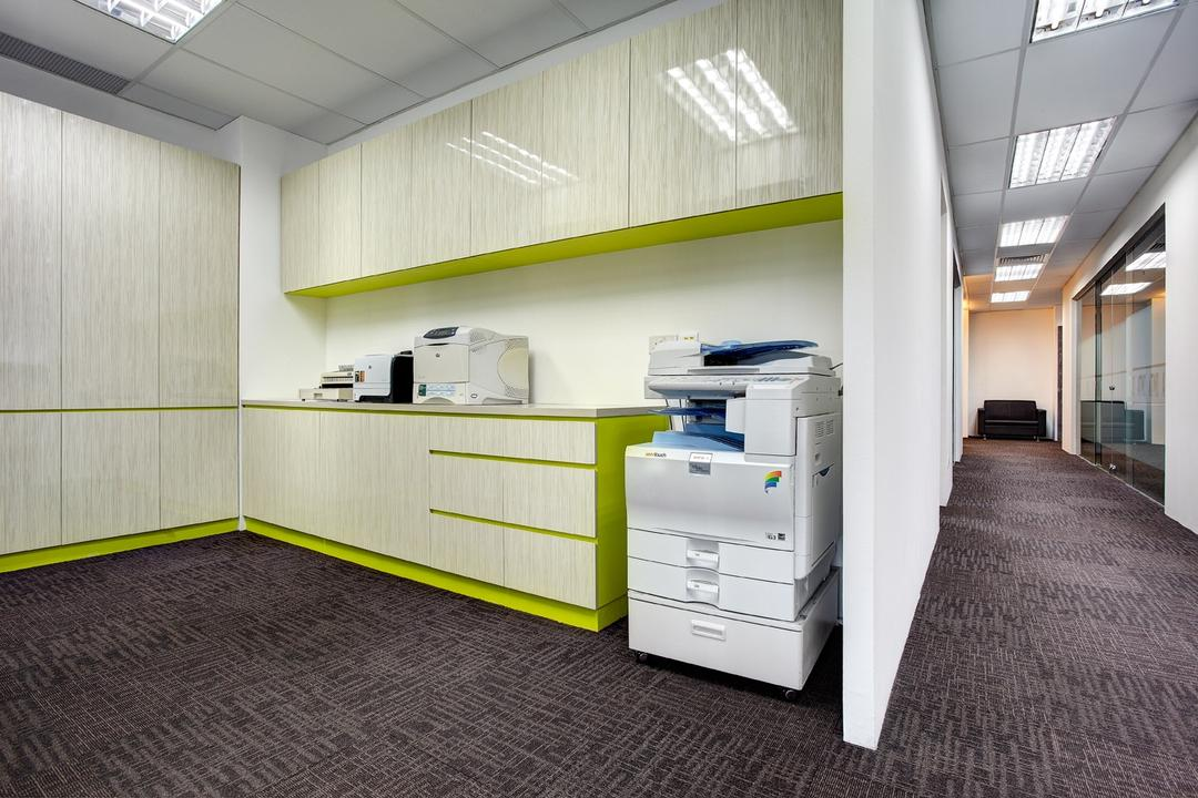 Jurong Office, D5 Studio Image, Traditional, Study, Commercial, Printer, Counter, Office, Corporate, Lime Green Cabinet, Machine, Corridor