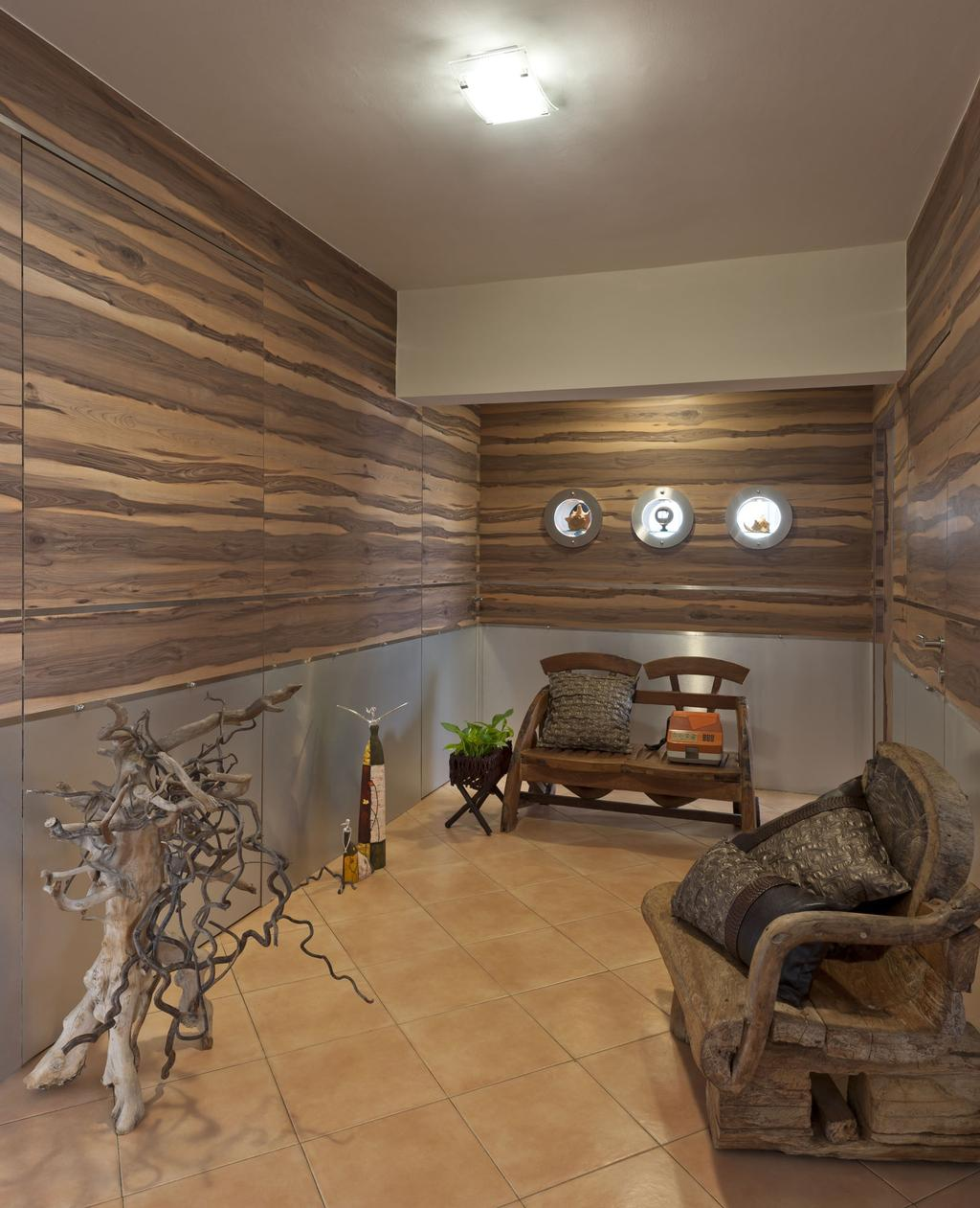Traditional, HDB, Living Room, New Upper Changi Road, Interior Designer, D5 Studio Image, Wooden Chairs, Tree, Laminated Walls, Orange Tiles, Recessed Lights, Wooden Theme, Brown Flooring, Brown Walls, Planted Tree, Wood Bench, Antler, Chair, Furniture, Indoors, Interior Design