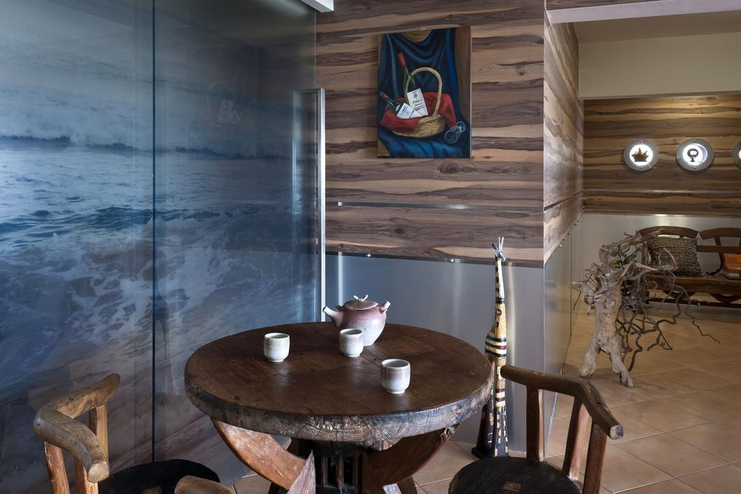 New Upper Changi Road, D5 Studio Image, Traditional, Dining Room, HDB, Dining, Tea Set, Wooden Furniture, Wooden Dining Set, Hanging Light, Round Dining Set, Brown Tiles, Indoors, Interior Design, Room, Dining Table, Furniture, Table, Pot