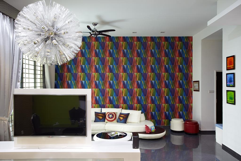 Traditional, Condo, Living Room, Pinewood Garden (Balmoral Park), Interior Designer, D5 Studio Image, Pivotal Tv, Rainbow, Wallpaper, Decor, Wall Portrait, Colorful Wallpaper, Electronics, Lcd Screen, Monitor, Screen, Indoors, Room