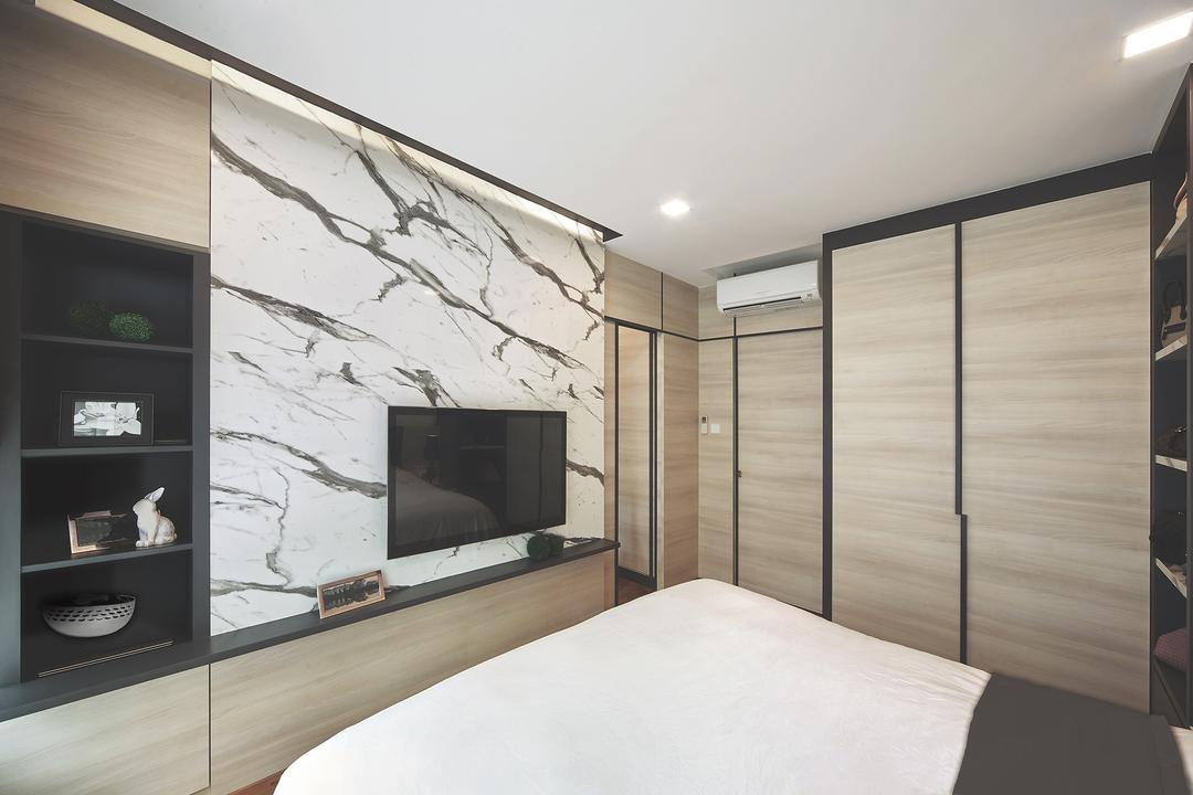 Ang Mo Kio, Black N White Haus, Modern, Contemporary, Bedroom, Landed, Modern Contemporary Bedroom, King Size Bed, Recessed Lights, Wall Mounted Television, Built In Shelves, Wooden Wardrobe, Sliding Wooden Wardrobe, Cozy, Cosy, Electronics, Entertainment Center