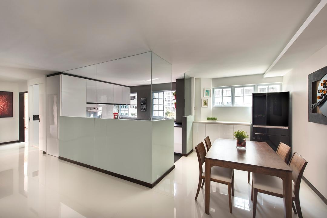 Arthur Road, D5 Studio Image, Modern, Dining Room, Condo, Black Fridge, Open Kitchen, Bright Space, Glass Partition, Dining Table, Dining Chairs, Furniture, Table, HDB, Building, Housing, Indoors, Loft, Electronics, Entertainment Center, Chair, Interior Design, Room
