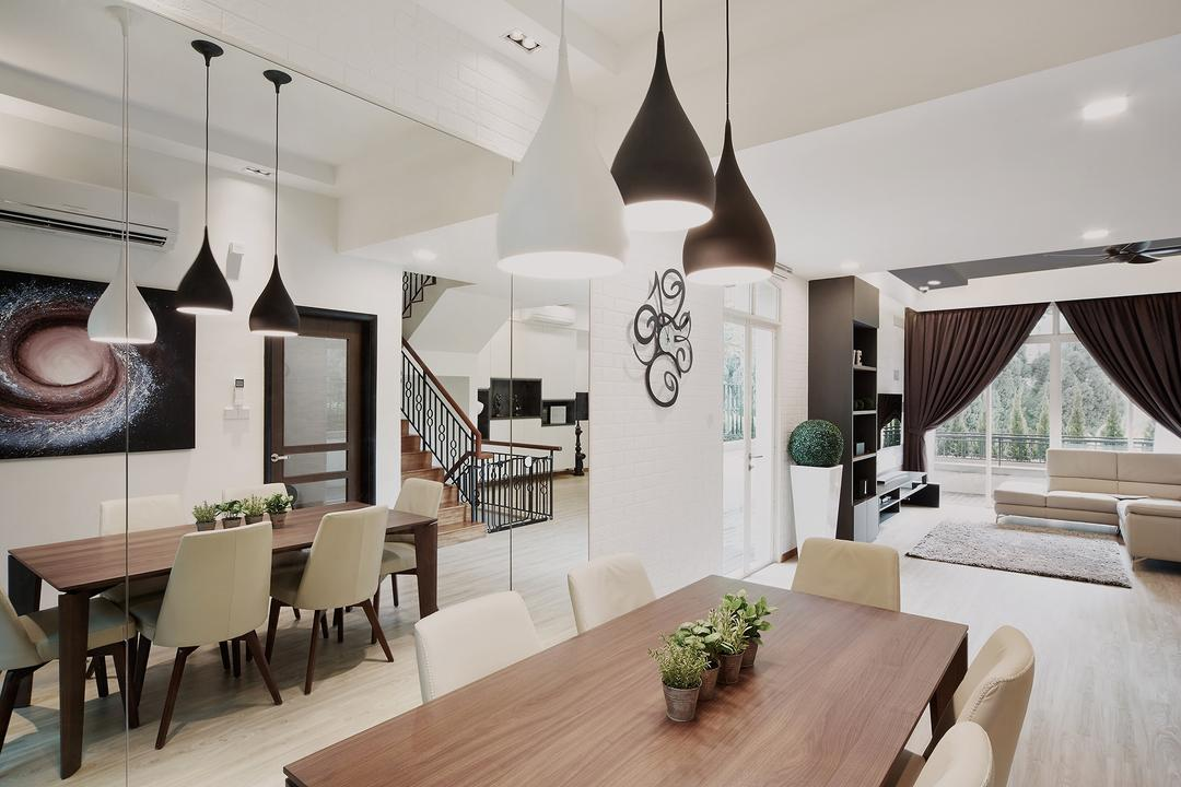 Ang Mo Kio, Black N White Haus, Modern, Contemporary, Dining Room, Landed, Modern Contemporary Dining Room, Hanging Lights, Recessed Lights, Wooden Dining Table, Wooden Dining Chair, Dining Table, Furniture, Table, Flora, Jar, Plant, Potted Plant, Pottery, Vase, Indoors, Interior Design, Room, Banister, Handrail, Lamp, Lampshade, Light Fixture, Flooring
