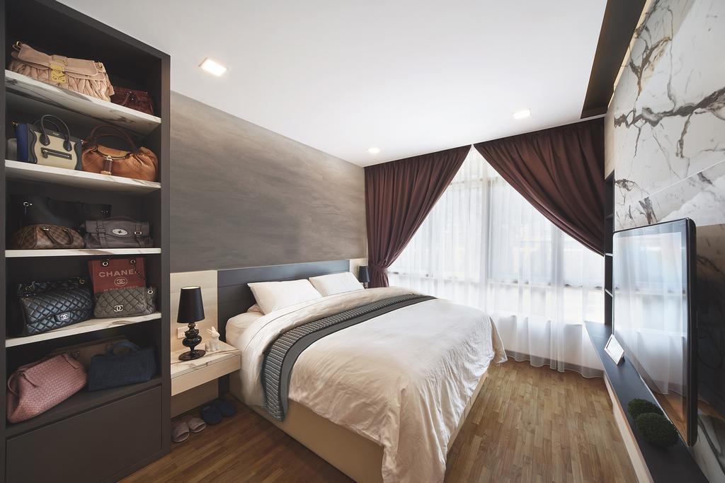 Modern, Landed, Bedroom, Ang Mo Kio, Interior Designer, Black N White Haus, Contemporary, Human, People, Person, Bed, Furniture, Indoors, Interior Design, Room