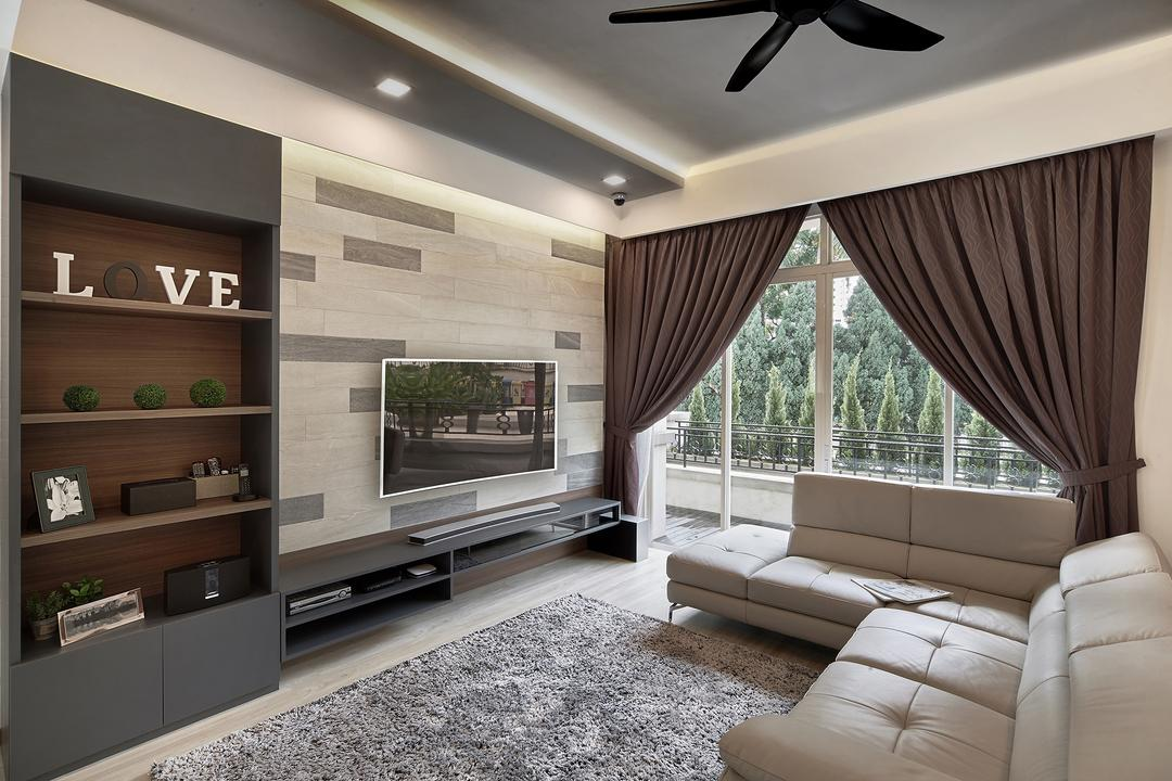 Ang Mo Kio, Black N White Haus, Modern, Contemporary, Living Room, Landed, Modern Contemporary Living Room, Ceiling, Coffered Ceiling, Recessed Lights, Wall Mounted Wooden Shelves, Wall Mounted Television, Television Console, Sling Curtain, Rug, Sectional Sofa, Couch, Furniture, Indoors, Room, Shelf
