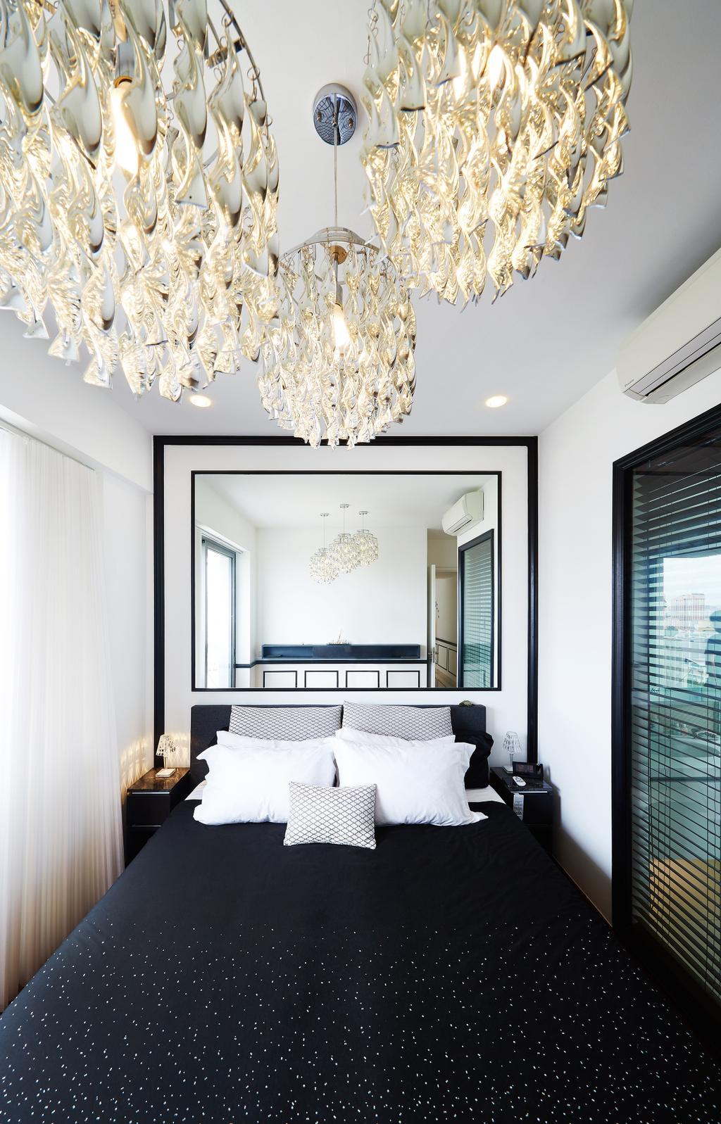 Vintage, Condo, Bedroom, Bishan, Interior Designer, Black N White Haus, Modern, King Size Bed, Chandelier, Recessed Lights, Cozy, Cosy, Classy, Lamp, Indoors, Interior Design, Room