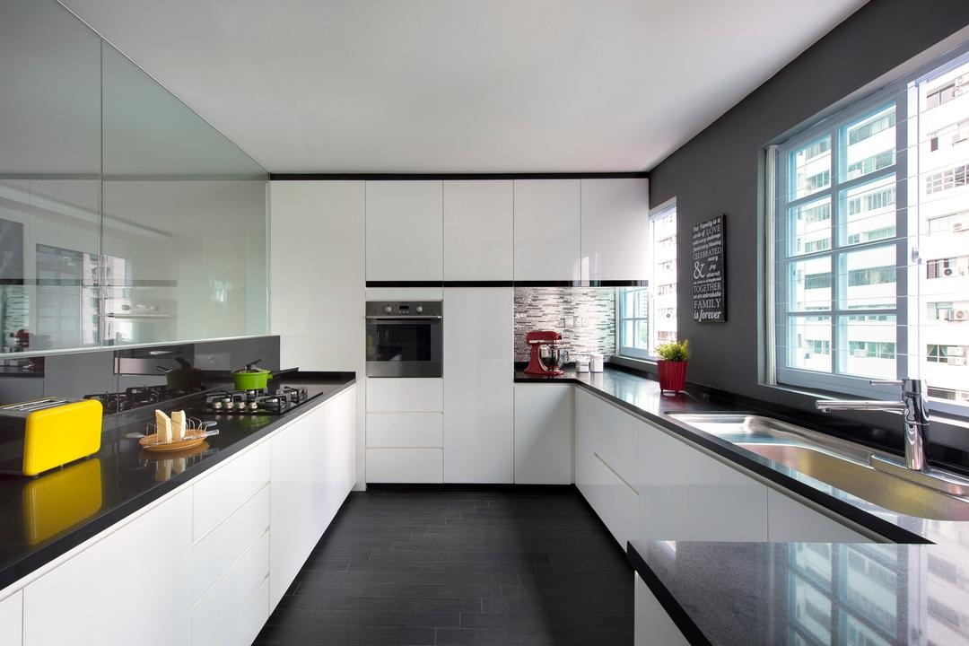 Arthur Road, D5 Studio Image, Modern, Kitchen, Condo, Black Counter Top, Grey, Yellow Toaster, Built In Oven, Tinted Cabinet, Laminated Cabinet, Appliance, Electrical Device, Oven, Indoors, Interior Design, Room
