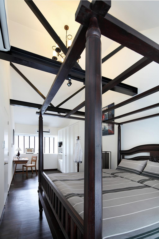 Modern, Landed, Bedroom, Braddell Road, Interior Designer, Black N White Haus, Vintage, Contemporary, Wooden Floor, King Size Bed, Cozy, Cosy, Wooden Bedding Panel, Furniture