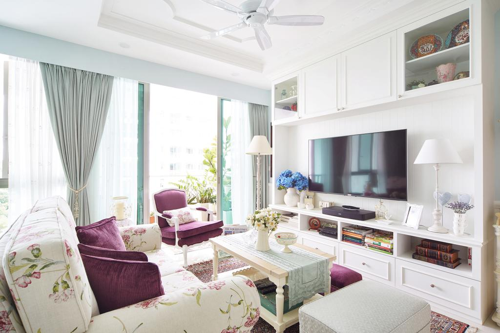 Vintage, Condo, Living Room, Pasir Ris, Interior Designer, Black N White Haus, Modern Contemporary Living Room, Ceiling Fan, Wall Mounted Television, White Television Console, Built In Shelve, White Cabinet, Armseat, Sling Curtain, Rug, Couch, Furniture, Shelf, Indoors, Room