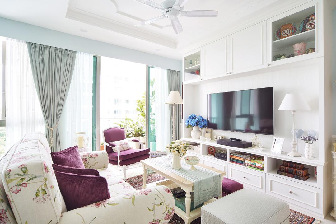 Pasir Ris, Black N White Haus, Vintage, Living Room, Condo, Modern Contemporary Living Room, Ceiling Fan, Wall Mounted Television, White Television Console, Built In Shelve, White Cabinet, Armseat, Sling Curtain, Rug, Couch, Furniture, Shelf, Indoors, Room