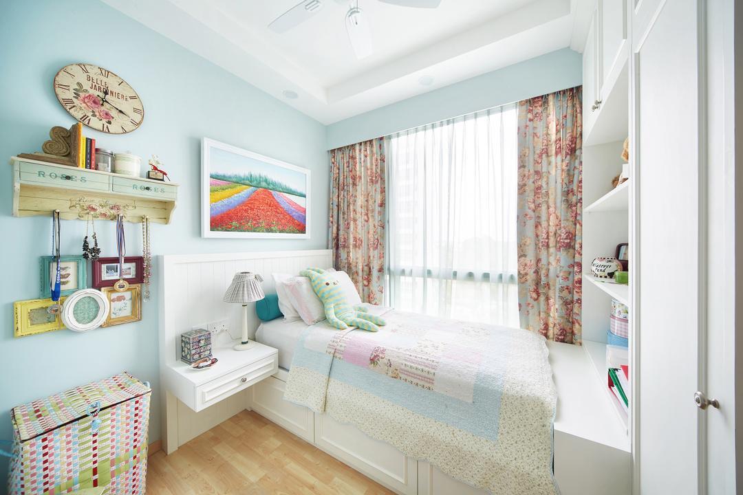 Pasir Ris, Black N White Haus, Vintage, Bedroom, Condo, Wooden Floor, Modern Contemporary Bedroom, Sling Curtain, Wall Mounted Shelve, Cozy, Cosy, Indoors, Nursery, Room, Interior Design