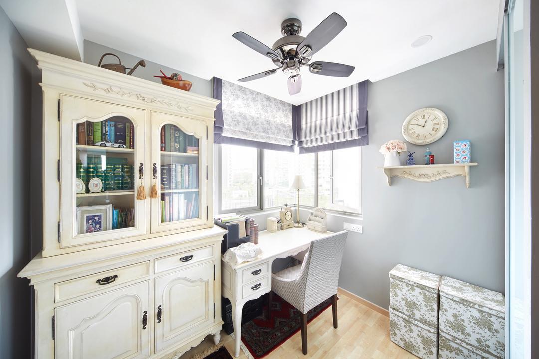 Pasir Ris, Black N White Haus, Vintage, Study, Condo, Modern Contemporary Study Room, Wooden Floor, Ceiling Fan, White Study Desk, White Study Chair, Cabinet, Roll Down Curtain
