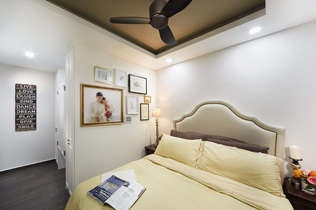 Vintage, HDB, Bedroom, Punggol Field, Interior Designer, Black N White Haus, Modern Contemporary Bedroom, King Size Bed, Cozy, Cosy, Ceiling Fan, Recessed Lights, Coffered Ceiling, Wooden Floor, Indoors, Interior Design, Room, Bed, Furniture
