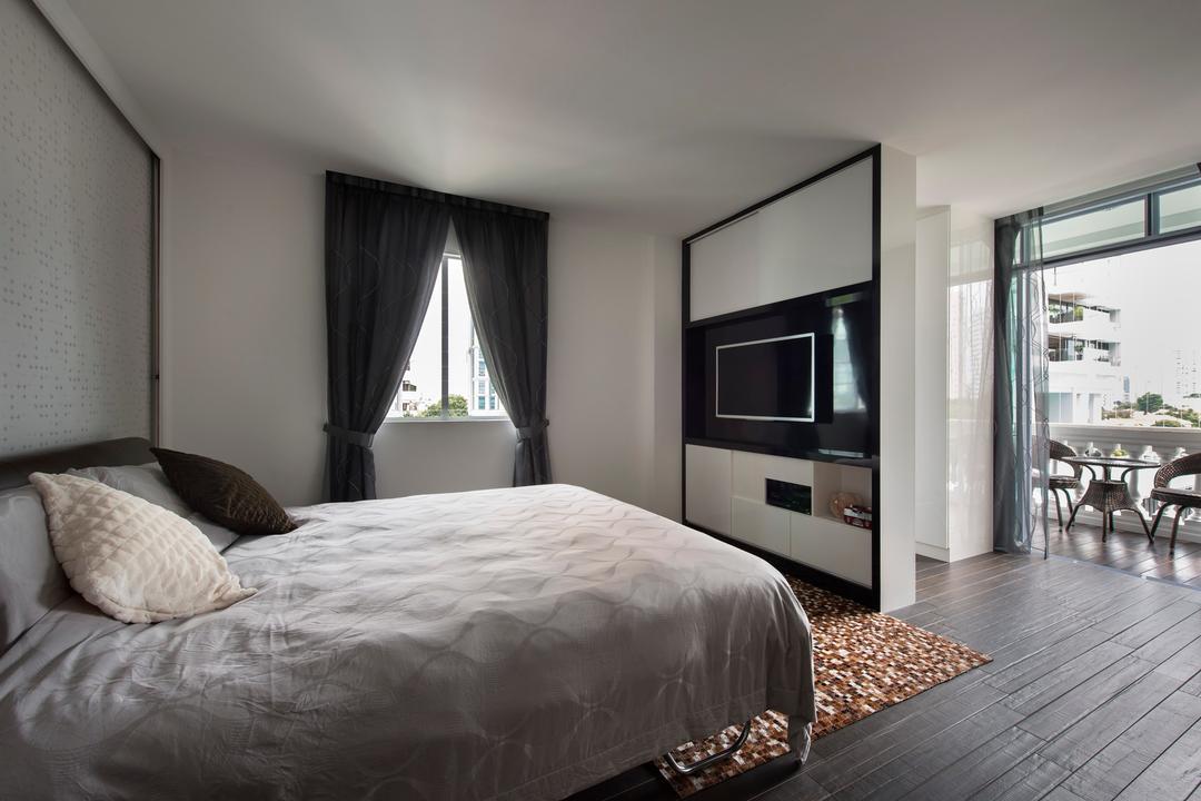 Arthur Road, D5 Studio Image, Modern, Bedroom, Condo, Grey Bed Sheet, Timber, Flooring, Curtains, Wooden Flooring, Electronics, Entertainment Center, Bed, Furniture, Indoors, Interior Design, Room