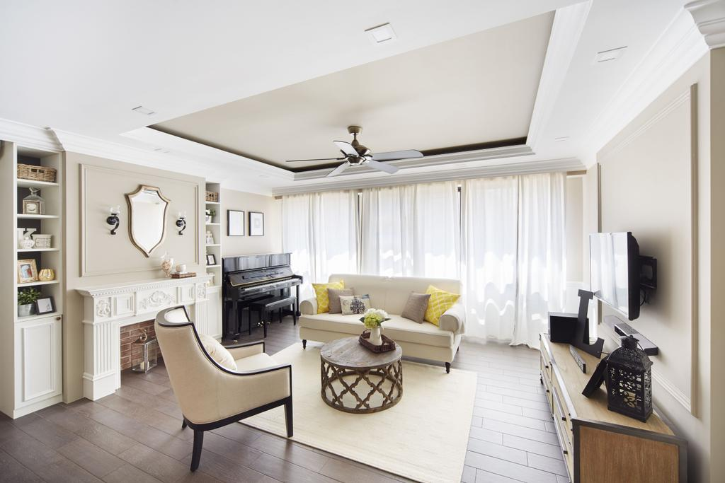Vintage, HDB, Living Room, Punggol Field, Interior Designer, Black N White Haus, Modern Contemporary Living Room, Wall Mounted Television, Wooden Television Console, Loveseat, Wooden Floor, White Rug, Sling Curtain, Ceiling Fan, Coffered Ceiling, White Shelves, Coffee Table, Furniture, Table, Indoors, Interior Design