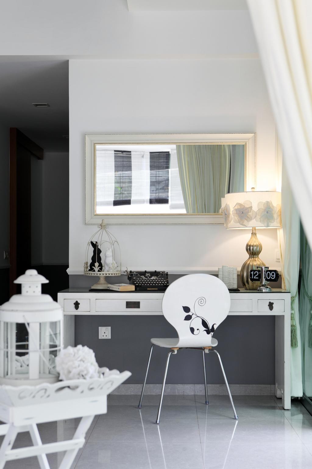 Modern, Condo, Living Room, Upper Bukit Timah Road, Interior Designer, Black N White Haus, Vintage, Lamp, Lampshade