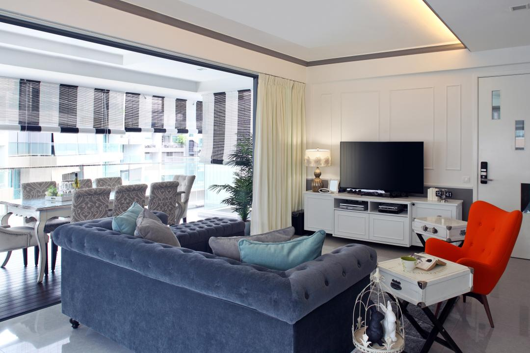Upper Bukit Timah Road, Black N White Haus, Modern, Vintage, Living Room, Condo, Modern Contemporary Living Room, Hidden Interior Lighting, Wall Mounted Television, Orange Lounge Chair, Loveseat, Marble Floor, White Television Console, Chair, Furniture, Couch, Indoors, Room, Sink