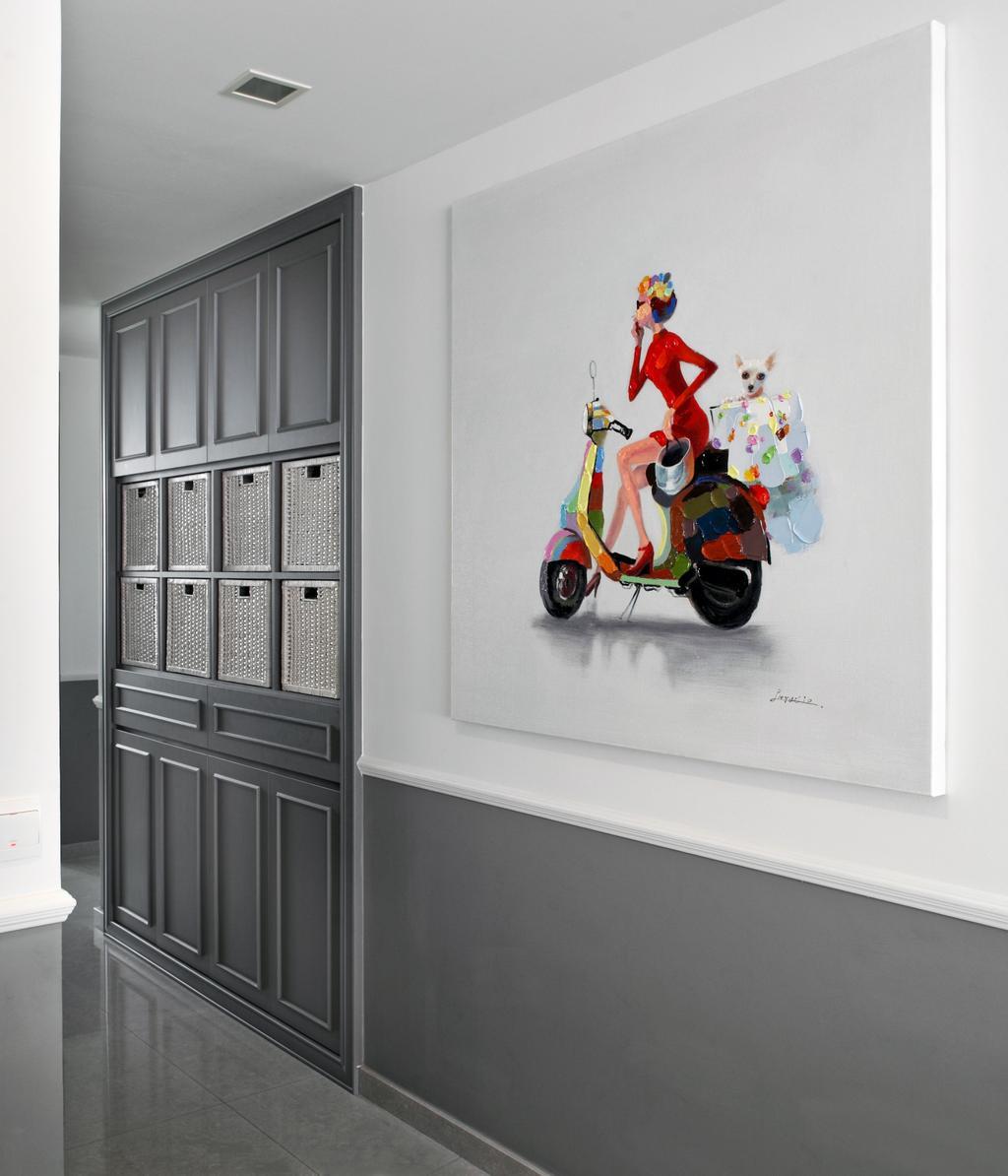 Modern, Condo, Bedroom, Upper Bukit Timah Road, Interior Designer, Black N White Haus, Vintage, Motor Scooter, Motorcycle, Transportation, Vehicle, Vespa, Scooter
