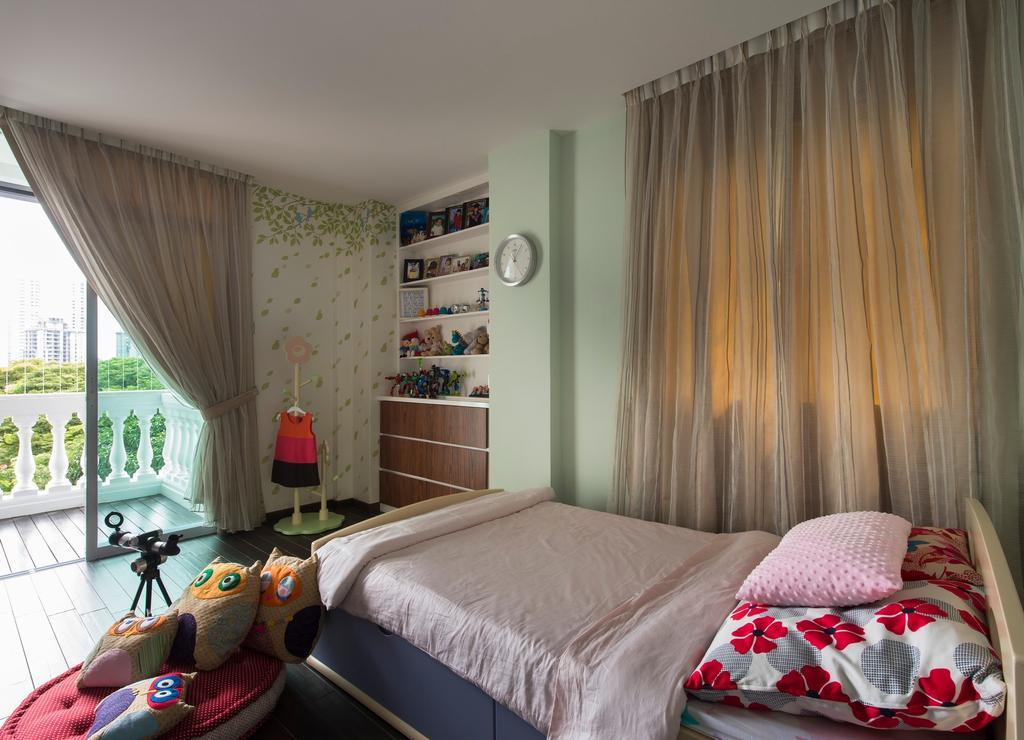 Modern, Condo, Bedroom, Arthur Road, Interior Designer, D5 Studio Image, Children, Kids, Room, Owl Cushions, Curtains, Balcony, Indoors, Interior Design