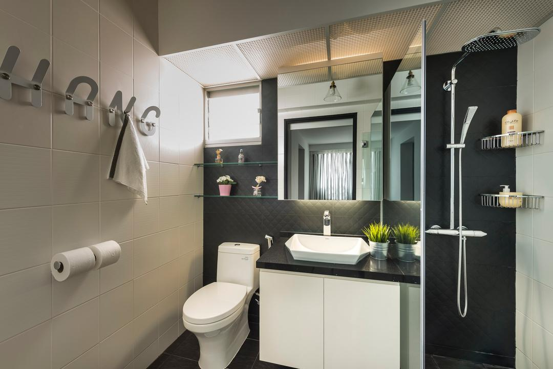 Sengkang West Way, D5 Studio Image, Industrial, Bathroom, HDB, Black Tiles, Reainshower, Monochromatic Bathroom, Flora, Jar, Plant, Potted Plant, Pottery, Vase, Indoors, Interior Design, Room, Sink
