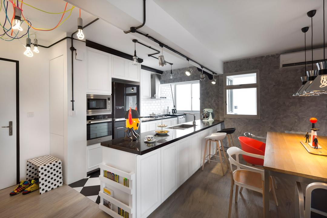 Sengkang West Way, D5 Studio Image, Industrial, Kitchen, HDB, Open Kitchen, Island, Expose Wiring, Expose Pipes, White Kitchen, Industrial Kitchen, Built In, Appliances, Chair, Furniture, Building, Housing, Indoors, Loft, Plywood, Wood