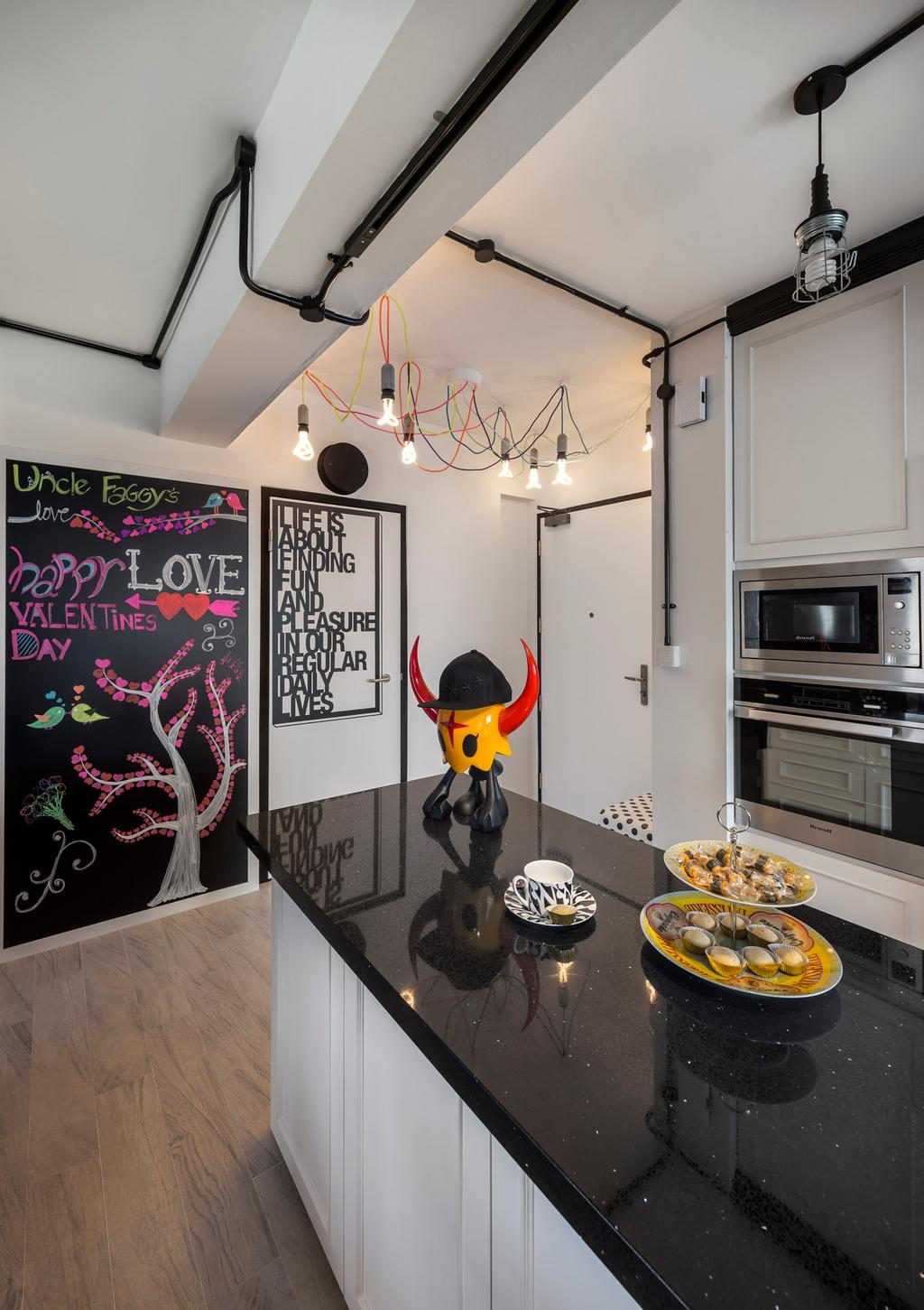Industrial, HDB, Kitchen, Sengkang West Way, Interior Designer, D5 Studio Image, Island, Kitchen Island, Black Table Top, Expose Wiring, Expose Pipe, Industrial Lights, Blackboard, Built In, Appliances, Appliance, Electrical Device, Microwave, Oven, Breakfast, Food, Meal