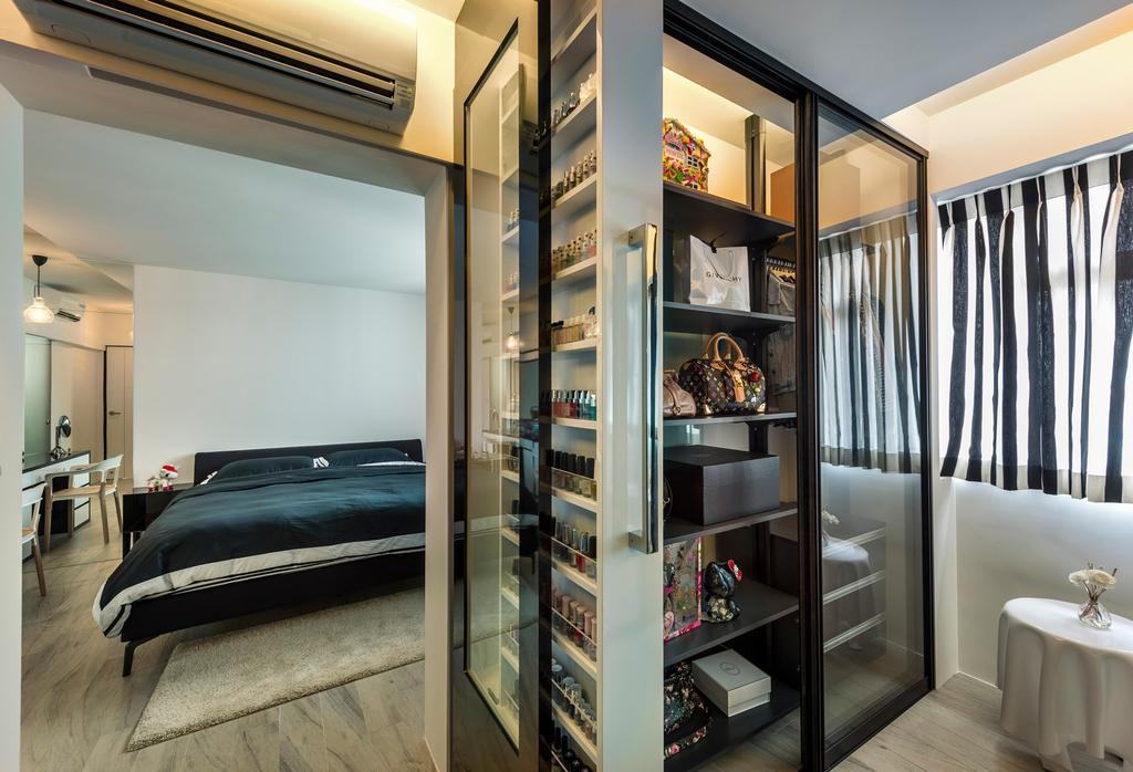 Industrial, HDB, Bedroom, Sengkang West Way, Interior Designer, D5 Studio Image, See Through, Glass Wardrobe, Glass Cupboard, Black Bedsheet, Conceal Lights, Shelf