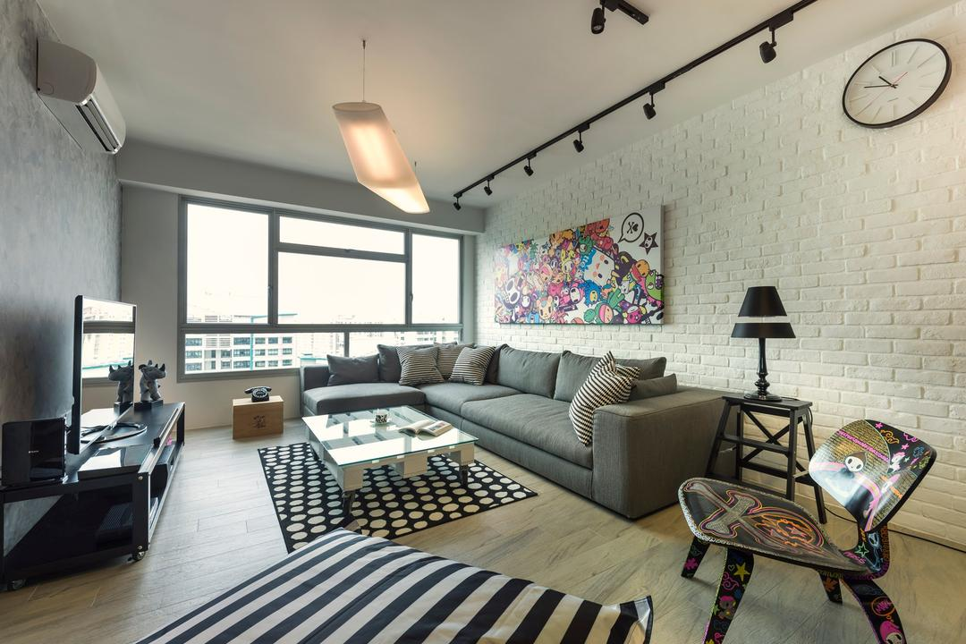 Sengkang West Way, D5 Studio Image, Industrial, Living Room, HDB, Black And White, Monochromatic, Graffiti Chair, Carpet, Rugs, Grey Wall, Brick Wall, Couch, Furniture, Chair