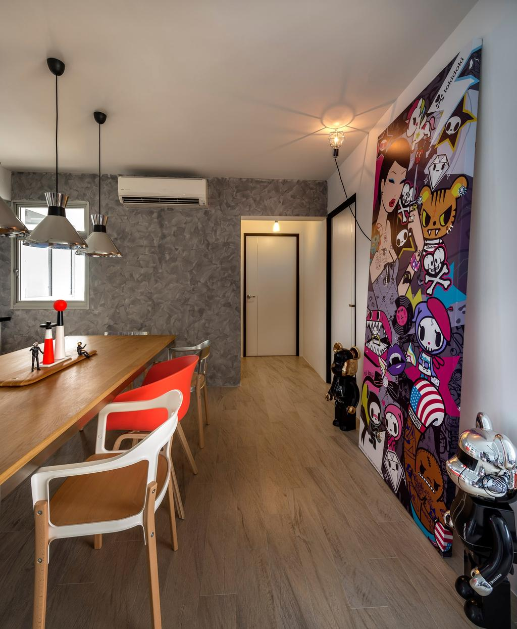 Industrial, HDB, Dining Room, Sengkang West Way, Interior Designer, D5 Studio Image, Bearick, Feature Art, Japanese, Laminate Flooring, Aluminium Lights, Plywood, Wood, Light Fixture