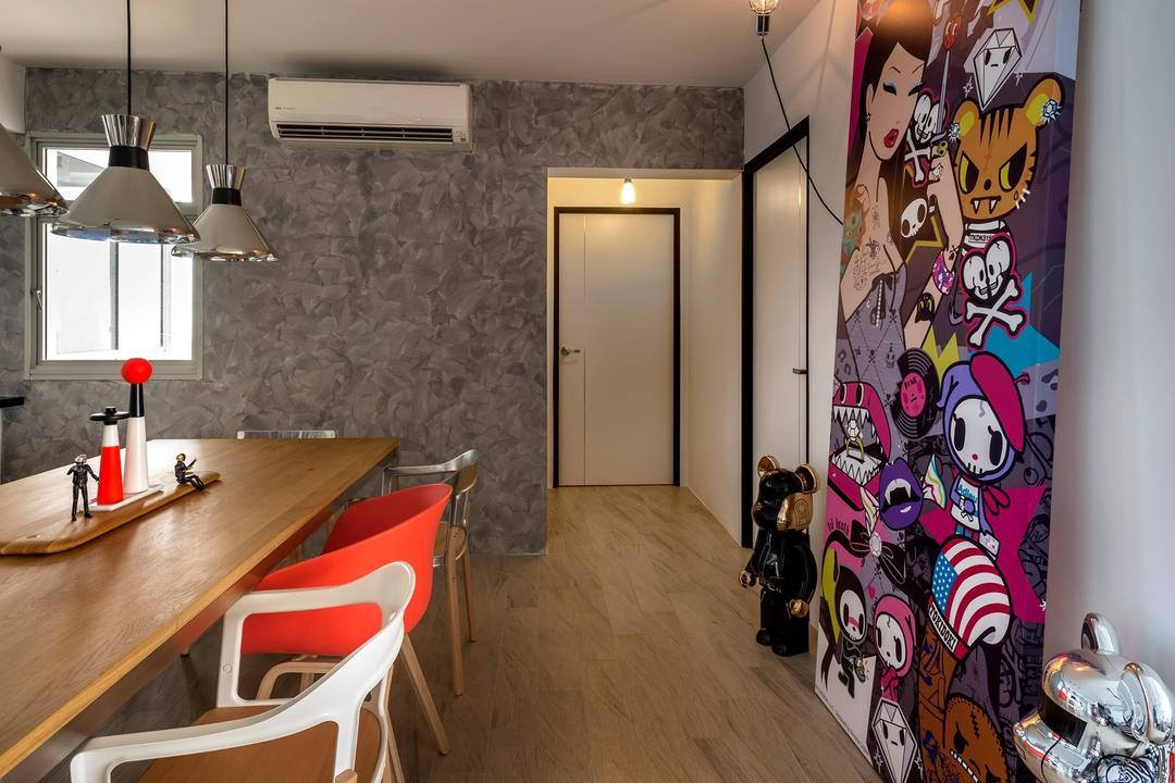 Sengkang West Way, D5 Studio Image, Industrial, Dining Room, HDB, Bearick, Feature Art, Japanese, Laminate Flooring, Aluminium Lights, Plywood, Wood, Light Fixture