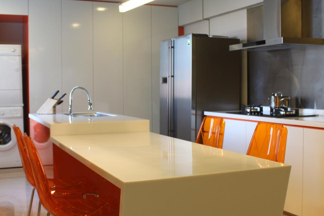 Pasir Ris (Block 628), Le Interi, Modern, Dining Room, HDB, Hanging Lights, Marble Flooring, White Cabinet, Orange Chairs, White Table, White Dining Table, White Kitchen Top