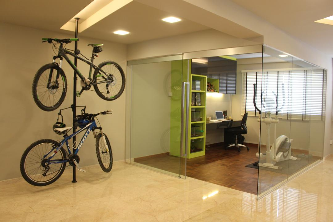 Pasir Ris (Block 628), Le Interi, Modern, Study, HDB, Bicycle Rack, Recessed Lighting, Glass Walls, Glass Doors, Blinds, Green Open Shelves, Open Shelves, Study Shelves, Green Shelves, Study Desk, Exercise Machine, Bicycle, Bike, Mountain Bike, Transportation, Vehicle, Flooring