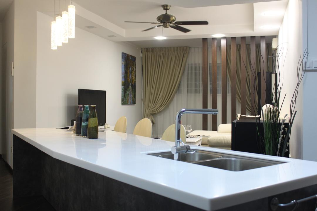 Tampines Street 91 (Block 921), Le Interi, Modern, Dining Room, HDB, Recessed Lights, Kitchen White Table Top, Pendant Lights, Ceiling Fan, Double Layer Curtains, Partition, Wooden Partition, Flora, Jar, Plant, Potted Plant, Pottery, Vase, Sink, Tap, Indoors, Interior Design, Room