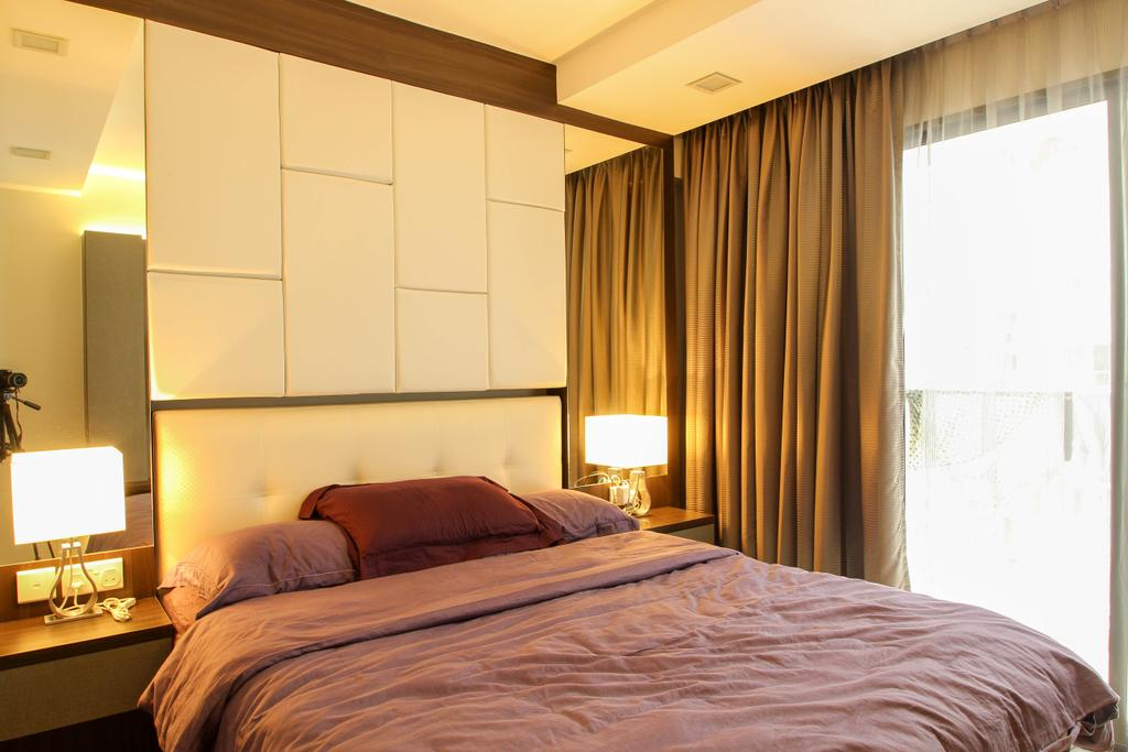Modern, HDB, Bedroom, Yuan Ching (DBSS), Interior Designer, Fifth Avenue Interior, Table Lamp, Bedside Lamp, Double Layered Curtains, High Headboard, Mirror, Bed, Furniture