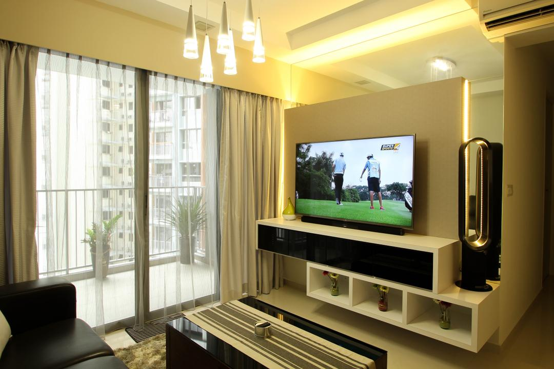 Yuan Ching (DBSS), Fifth Avenue Interior, Modern, Living Room, HDB, Hanging Lights, Concealed Lighting, Flatscreen Tv, Wall Mounted Tv Console, Tv Console, Wall Mounted, Shelves, Double Layered Curtains, Balcony, Open Shelves