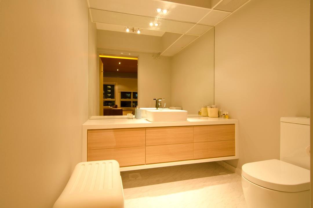 27 Ghim Moh Link, Fifth Avenue Interior, Contemporary, Bathroom, HDB, Mirror, Seats, Brown Drawers, White Basin, Brown Cabinet, Chair, Furniture