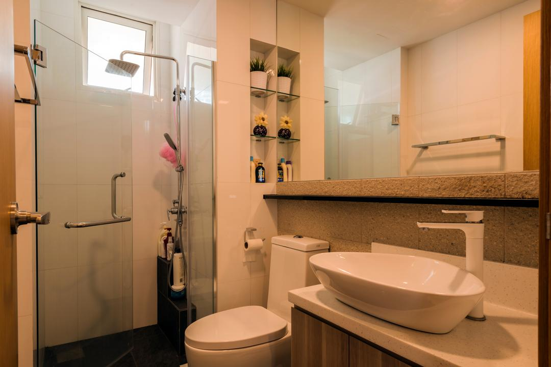 Ris Gradeur, 9 Creation, Modern, Bathroom, Condo, Protruding Sink, Ceramic Floor, Wooden Bathroom Cabinet, Wooden Bathroom Cupboard, Modern Contemporary Bathroom, Indoors, Interior Design, Room
