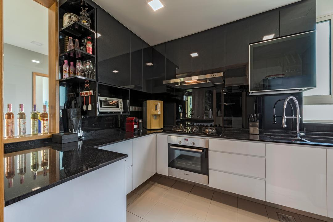 Ris Gradeur, 9 Creation, Modern, Kitchen, Condo, Recessed Lights, White Kitchen Cabinet, White Kitchen Cupboard, Black Kitchen Cabinet, Black Kitchen Cupboard, Black Laminated Top, Wooden Floor, Built In Oven, Appliance, Electrical Device, Oven, Indoors, Interior Design, Room