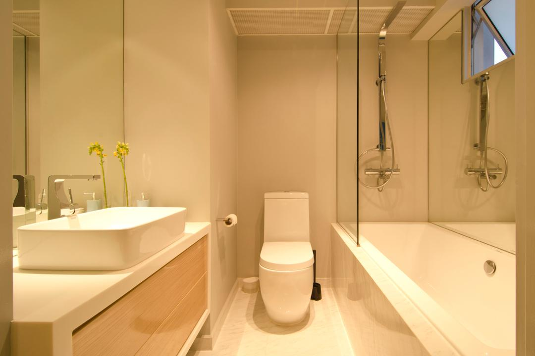 27 Ghim Moh Link, Fifth Avenue Interior, Contemporary, Bathroom, HDB, Glass Shower Doors, White Theme, White Basin, White Sink Top, Brown Drawer, Bathtub, Toilet, Indoors, Interior Design, Room, Sink