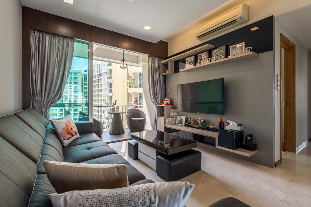 Modern, Condo, Living Room, Ris Gradeur, Interior Designer, 9 Creation, Modern Contemporary Living Room, Sling Curtain, Recessed Lights, Wall Mounted Television, Floating Television Console, Black Glass Table, Ceramic Floor, Wall Mounted Shelve, Couch, Furniture, Indoors, Interior Design, Room