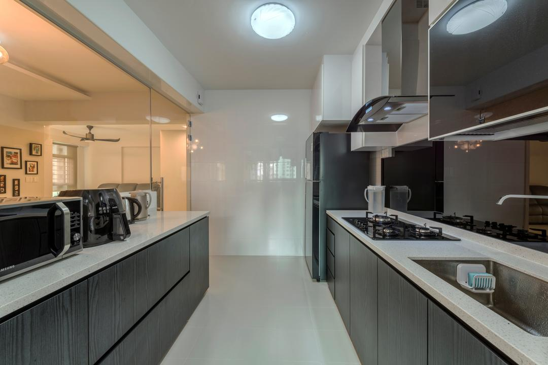 Rivervale Crescent (Block 162A), 9 Creation, Modern, Kitchen, HDB, Ceramic Floor, Ceiling Lights, Wooden Kitchen Cabinet, Wooden Kitchen Cupboard, White Laminated Top, Indoors, Interior Design, Room, Appliance, Electrical Device, Microwave, Oven