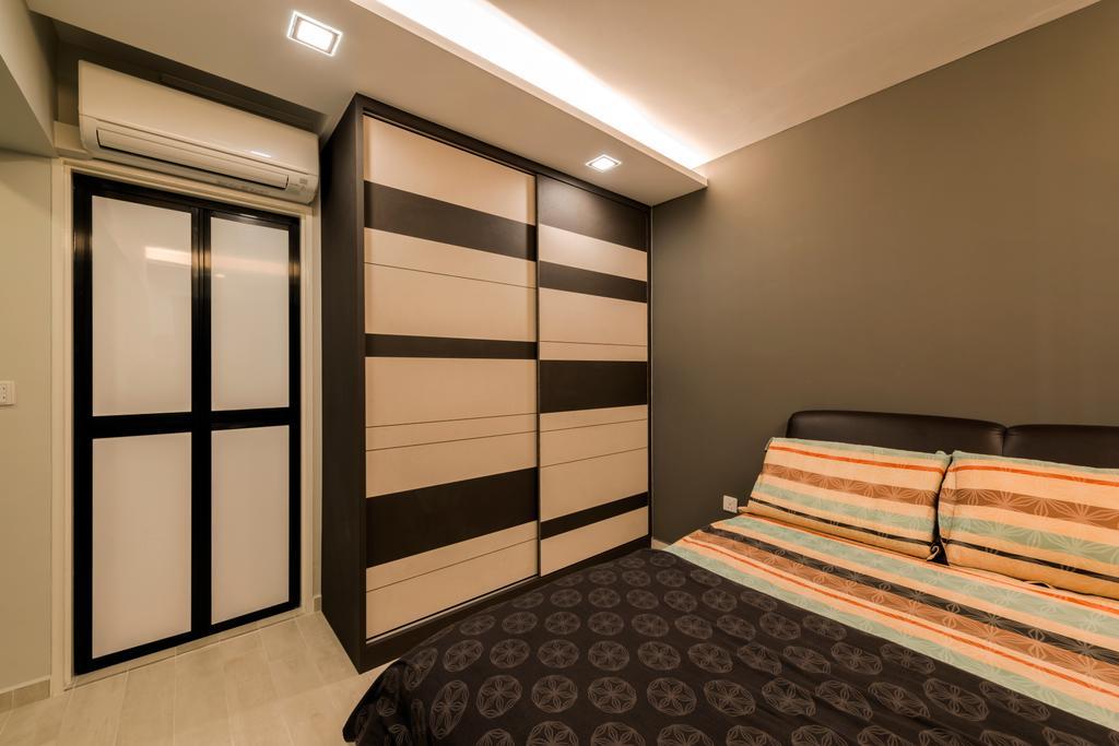 Modern, HDB, Bedroom, Rivervale Crescent (Block 162A), Interior Designer, 9 Creation, King Size Bed, Wooden Wardrobe, Recessed Lights, Hidden Interior Lighting, Cozy, Cosy, Modern Contemporary Bedroom